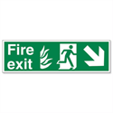 Stewart Superior Fire Exit Sign Man and Arrow Down Right 600x200mm Self-Adhesive PVC