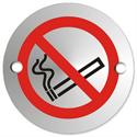 Circular Convex No Smoking Logo Sign Satin Anodised Aluminium 72mm Diameter
