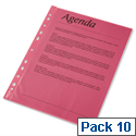 A4 Red Punched Pockets Pack 10 - Esselte