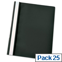 Esselte A4 Black Report Flat File Lightweight Plastic Clear Front Pack 25