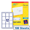 Avery QuickDRY Inkjet Address Labels 12 per Sheet 63.5 x 72mm White J8164-100 [1200 Labels]
