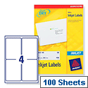 Avery QuickDRY Inkjet Address Labels  4 per Sheet 139 x 99.1mm White J8169-100 [400 Labels]