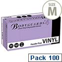 Disposable Powder Free Vinyl Gloves Clear Medium Box 100 Polyco Bodyguards4 Ref GL6222 [Pack 100]