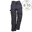 Portwest Ladies Action Work Trousers Kingmill 210g Double Ply Seat Zip Pockets Size 8-10 Navy Ref S687NARS