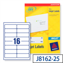 Avery QuickDRY Inkjet Address Labels 16 per Sheet 99.1x33.9mm White Ref J8162-25 [400 Labels]