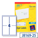 Avery QuickDRY Inkjet Address Labels 4 per Sheet 139 x 99.1mm White J8169-25 [100 Labels]