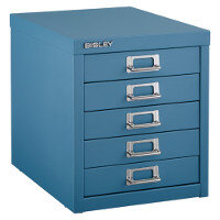Bisley Multi Drawer Cabinet 12 Inches 5 Drawer Non Locking Doulton Blue 12/