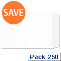 C4 White Envelopes Pocket Press Seal 90gsm Pack 250 5 Star Ref F90014