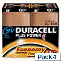 Duracell Plus Power 9V Alkaline Batteries 81275463 Pack 4