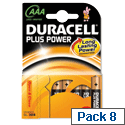 Duracell Plus Power AAA 1.5V Alkaline Battery Pack 8