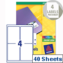 Avery L7769-40 Colour Laser Address Labels Glossy 4 per Sheet 160 Labels