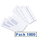5 Star Value Envelopes Press Seal Window Wallet DL White (Pack 1000)