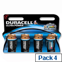 Duracell Ultra Power 1.5V C Alkaline Battery MX1400 Pack 4