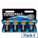 Duracell Ultra Power 1.5V C Alkaline Battery MX1400 Pack 4