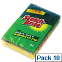 3M Scotch-Brite Heavy Duty Washing Up Scouring Sponge (Pack of 10) 1821