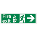 Stewart Superior Fire Exit Man Arrow Right Self Adhesive PVC Sign Standard