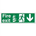 Stewart Superior Fire Exit Sign Man and Arrow Down 600x200mm Self-Adhesive PVC