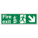 Stewart Superior Fire Exit Man Arrow Down Right Self Adhesive Sign Standard PVC