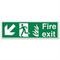 Stewart Superior Fire Exit Man Arrow Down Left Self Adhesive PVC Sign Standard