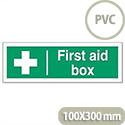 First-Aid Box Self Adhesive Sign PVC 300x100mm Stewart Superior
