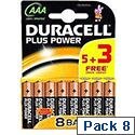 Duracell Plus Power Battery Alkaline AAA 5+3 Free Batteries