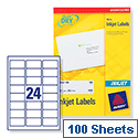 Avery QuickDRY Inkjet Address Labels 24 per Sheet 63.5 x 33.9mm White [2400 Labels] J8159-100