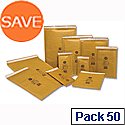 Jiffy Mailmiser Protective Envelopes Bubble Lined No.3 Gold 220x320mm (Pack of 50)