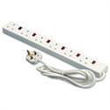 6 Way Extension Lead Micromark Powerboard Individually-switched with Indicators Cable 2m MM22288