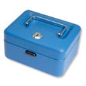 Cash Box Lockable 150mm Blue 2 Keys Removable Coin Tray