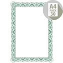 Computer Craft A4 Green Bordered Certificate Papers With Foil Seals 90gsm Pack 30