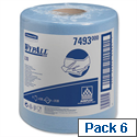 Wypall L10 Wipers Centrefeed Airflex 525 Sheets per Roll 185x380mm Blue Ref 7493 [Pack 6]