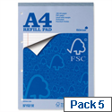 Silvine A4 Refill Pad FSC Headbound Ruled Margin 4-Hole 80 Sheets Pack 5