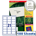Avery LR7160-100 Address Laser Labels 21 per Sheet Recycled 63.5 x 38.1mm 2100 Labels