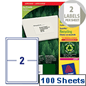 Avery LR7168-100 Laser Labels 2 per Sheet 199.6 x 143.5mm 200 Labels