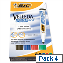 Bic Velleda Whiteboard Marker Assorted Colours Bullet Tip Pack 4