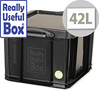 Really Useful 42 Litre Storage Box Black Plastic Recycled Stackable