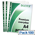Leitz Punched Pockets Green Strip A4 Clear Pack 100