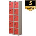 5 Door Locker Nest of 2 Extra Depth Silver Red Trexus
