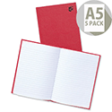 5 Star A5 Manuscript Book Casebound 192 Pages Pack 5