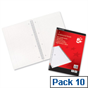 A4 Wirebound Notebook Perforated Ruled and Margin 100 Pages Pack 10 5 Star