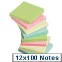 Sticky Notes Pastel Pad of 100 Sheets 76x76mm Assorted Pack 12 5 Star