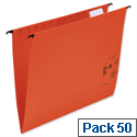 Foolscap Red Suspension Files with Wrapover Bar Tabs and Inserts 5 Star Pack 50