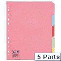 5 Part Extra Wide Subject Dividers Assorted  A4 5 Star