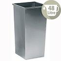 5 Star Office Waste Bin Square Steel Scratch-resistant W325xD325xH630mm 48 Litres Silver Metallic