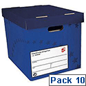 Archive Storage Box Foolscap Superstrong Blue 10 Pack 5 Star