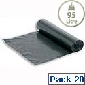 5 Star Bin Liners 80 Gauge On The Roll 95L Black (Pack 20)