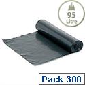 Medium Duty Bin Bags 95 Litre On-The-Roll Black Box 300
