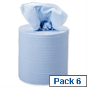 5 Star Centrefeed Paper Tissue Refill for Dispenser Blue Two-ply 150m [Pack 6]