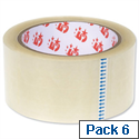 Packing Tape Roll Polypropylene Low Noise 50mmx66m Clear  6 Pack 5 Star