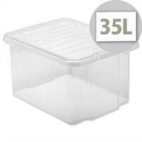 Plastic Stackable Storage Box with Lid 35 Litre Clear 5 Star